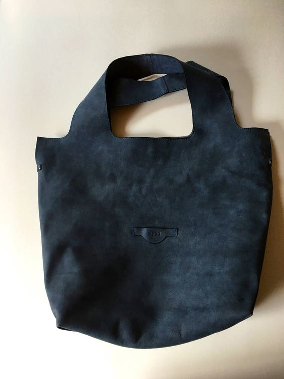 74street street bag, Denim Blue Leather Tote Bag, Ink Blue Tote Leather Bag, Tote Leather Bag, Shoulder Bag, Handmade Bag