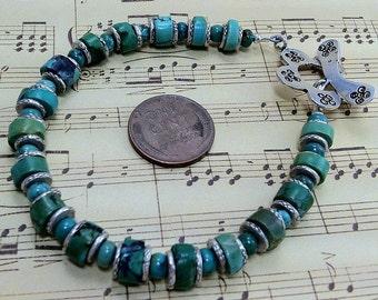handmade OOAK turquoise sterling bracelet flower clasp