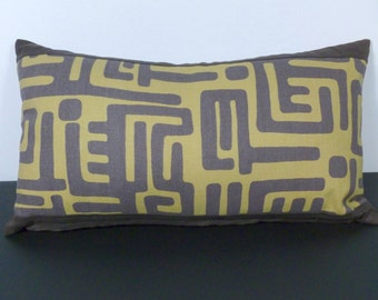 Lumbar Pillow Modern African Ethnic Style in Brown, Olive Green  (F13)