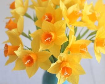 Dozen paper daffodils for home decor