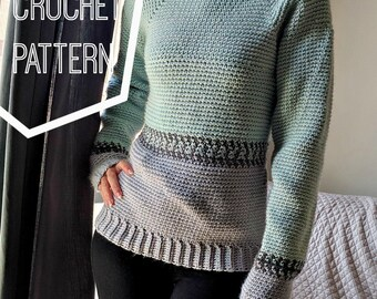 Crochet Fair Isle Pullover Pattern, Crochet Sweater Pattern, Crochet Sweater Womens Pattern, Crochet Sweater Woman, Baggy Crochet Sweatshirt