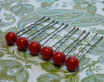 6 Coral Red 10mm Swarovski Crystal Pearl Hair Pins