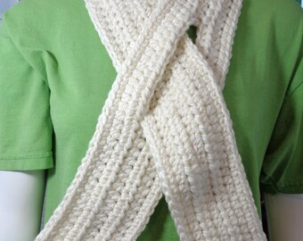 Neckwarmer with Slit, Cream Keyhole Scarf,  Off-White Winter Wear,  Gift for Mom, Christmas Gift, Grandma'a Present, Stocking Stuffer