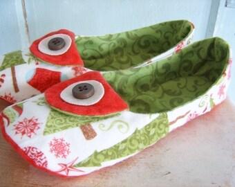 Slipper Sewing Pattern. PDF. Winterwonderland Flannel Slippers Women's Size 5 - 11