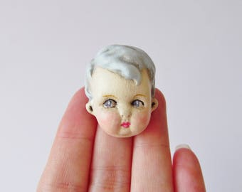 Vintage Doll Pin - Blue Haired Boy Doll Face Brooch Teddy