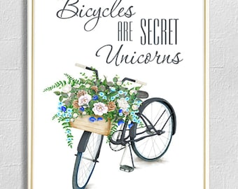 Bicycles Print - Unicorns Print -  Bicycles Basket - Positive Print - Flowers Print - Floral Wall Art -Bicycle Art Poster - Wall Art Print