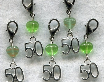 Stitch Count Stitch Markers LACE Socks 50 Count Handy Clasp Set of 5 /SM139