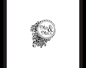 Vintage Mr. and Mrs. Black and White Frame Wedding Printable Art Print