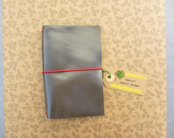 Handmade leather cover, fauxdori, travelers notebook. - Gray shine, all sizes.