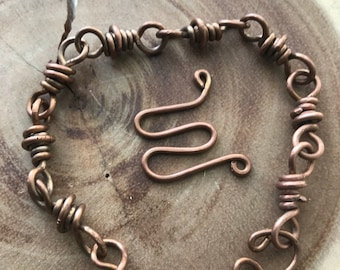 Double Wrapped Copper Wire Link Bracelet w/Patina Finish
