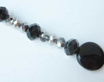 Prayer Beads Glam Bling For Her Black Onyx Smoky Silver Crystal Cell Phone Charm Accessory Bookmark Keys Purse