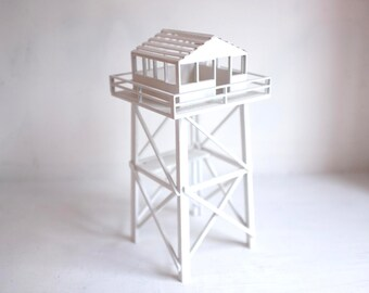 White fire tower structure - wooden miniature forest fire tower - Californian architecture - wilderness decor - modern take on vintage