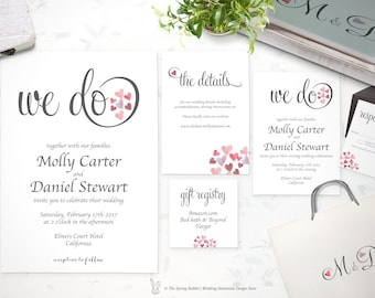 Watercolor Hearts Wedding Invitation Suite - Valentine Wedding Set - Customizable Wedding Invites - DIY Wedding Invitation Set