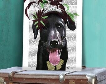 Black Labrador Green Hat - black lab art black lab print Labrador art labrador gifts labrador painting black lab painting cute dog print