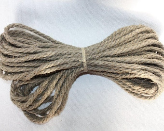 8 mm Linen Rope = 26.5 Yards = 24 Meters of Natural Linen Cord Natural Color Organic Natural Fiber Cord Decorative Rope Rustic Weddings Cord
