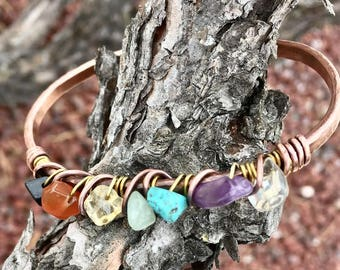 Chakra Bracelet Chakra Jewelry Bridesmaid Reiki Boho Bohemian Rustic Stackable Copper Hammered Crystal Wire wrapped Stackable Cuff Bracelets