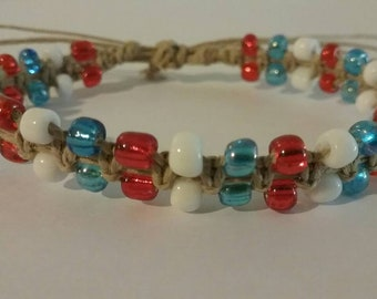Red white and blue beaded hemp bracelet! Fun 4th hemp jewelry, 4th of July, independence day jewelry, patriotic, stars & stripes, USA,