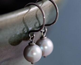 Gray Pearl Earrings Sterling Silver, June Birthstone, Silver Pearl Dangle Earrings