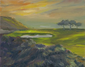 Golf Art. Golf Wall Decor. Golf Gift. Torrey Pines Golf Course - South, California, Hole #3. Print of original oil painting.