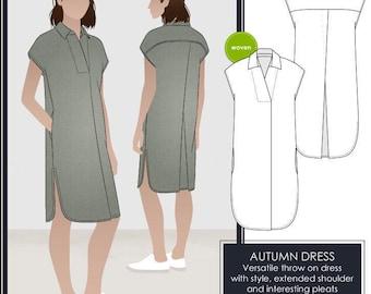 Style Arc Sewing Pattern - Autumn Dress - Sizes 14, 16 and 18 - Women's Slip On Dress - PDF Sewing Pattern