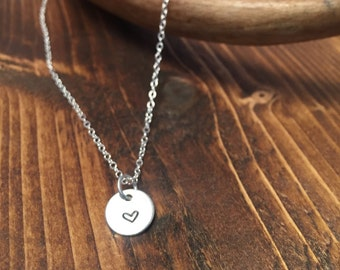 Be mine necklace // mini heart // sterling silver necklace // delicate // petite // hand stamped