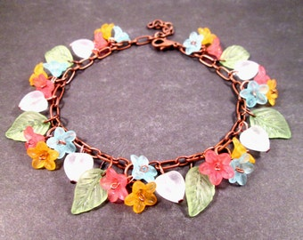 Flower Charm Bracelet, Morning Glories, Colorful and Copper Beaded Bracelet, FREE Shipping U.S.