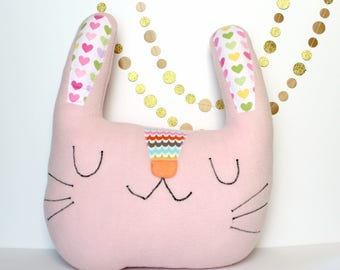 Big Bunny Pillow, Kids Room Decor, Kids Pillow, Happy Bunny Pillow, Easter Gift for Kids