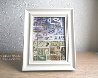 Landscape Collage Art | Framed Postage Stamp Art | Eclectic Upcycled Office Gift, Philately Gift, World Travel Gift, Boho Recycled Art Gift