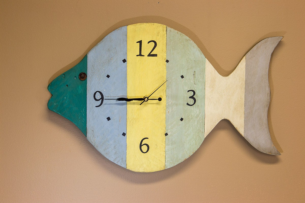 Unique Wall Clock Fish Clock Fisherman Gift Man Cave Clock