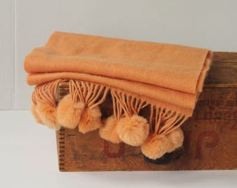 Pure new wool lambswool cashmere blend orange tangerine Shawl Scarf with fur pompoms pom pom fringe
