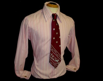 "70s 16 1/2"" French Cuff Men's Sear's Premiere Pink Stripe Shirt & Burgundy Tie"