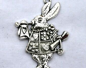 3 Antique Silver Alice in Wonderland Rabbit Charm/Pendant - S - 081