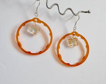 Orange Bicycle Gear Spacer and Bead Earrings , Upcycled Bike Jewelry