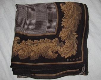 Vintage Echo Square Sheer Scarf - Large Size, Dark Brown Border, Gold Leaf Pattern - Striped Pattern in the Centre