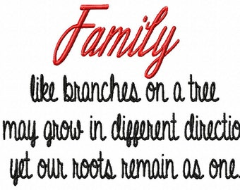 Family like branches on a tree - Machine Embroidery Design - 12 Sizes