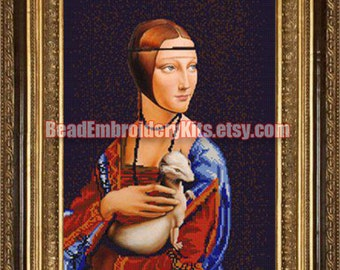 Lady with an Ermine DIY bead embroidery kit beaded painting craft set