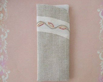 Eyeglass Case/ Eye Glass Case/ Eyeglass Holder Beige with Cream Lining