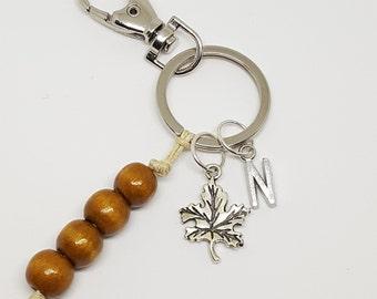 Personalized Maple Leaf Keychain
