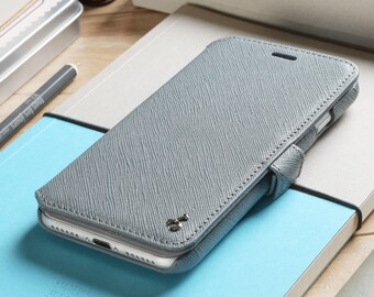 Apple iPhone 7 / iPhone 8 Genuine Leather Phone Wallet Case in Grey Saffiano Embossed Leather