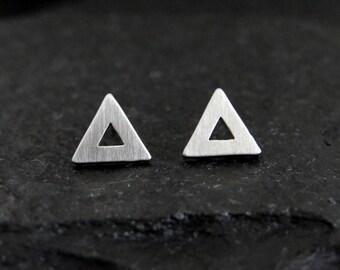 open triangle studs / open triangle earrings / triangle frame post earrings / geometric earrings mens earrings / boyfriend gift