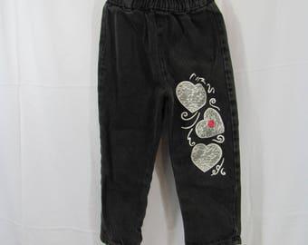 Vintage Girls High Waist Black Denim Jeans Hearts 90s / 80s Straight Leg Denim Pants