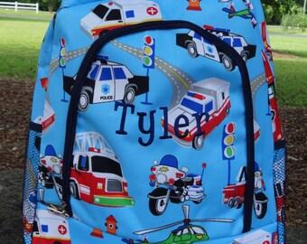 Personalized Boys Backpack- Preschool Backpack,  Backpack  FIRE TRUCK Backpack