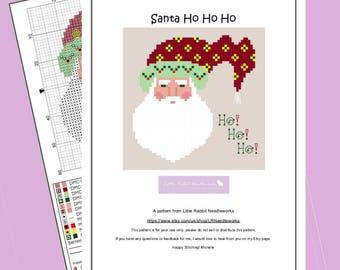 Santa Ho!Ho!Ho! - Christmas Tree Ornament Chart -  Cross Stitch PATTERN PDF download