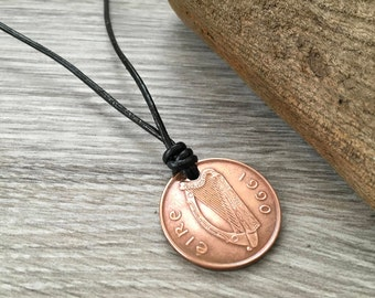 28th birthday gift, 1990 irish coin necklace, leather surfer pendant, coin from Ireland jewelry. Simple jewelry
