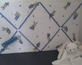 Baby boy photo collage quilted cotton Blue Bunny. Peter Rabbit
