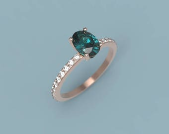 Rose Gold Alexandrite Oval Engagement Ring Alexandrite Ring Rose Gold Alexandrite Diamond Ring Alexandrite Ring