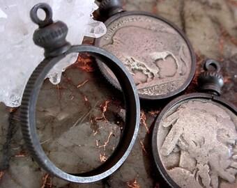 OLD Lot Vintage Solid Brass Round Bezel Setting Screw Top Coin Holder 20mm Noir Black Dark Natural Patina Buffalo Indian Head Nickel Lot 8HL