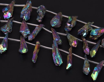 Rainbow Titanium Quartz Point Natural Point Teardrop Shape Briolette Pendant Beads Crystal Jewelry