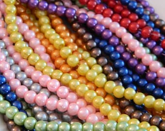 6mm Glass Pearl Beads - Colorful Pearl Glass Beads - 40 Beads