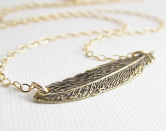 Gold Feather Necklace, Feather Bar Necklace, Feather Choker, Feather Pendant, Sideways Feather Necklace, Unique Jewelry, Layering Necklace